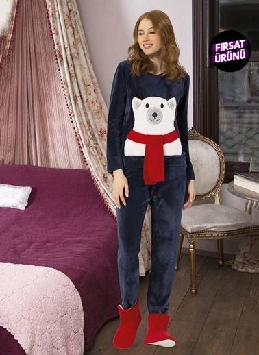 Siyah İnci Polar Pijama Takım Lacivert